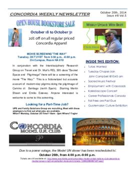 Concordia Weekly Newsletter Volume 05/Issue 08