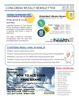 Concordia Weekly Newsletter Volume 06/Issue 27