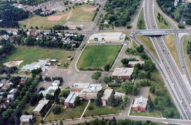 Aerial view of campus, South East side