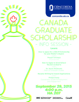 Canada Graduate Scholarship info session